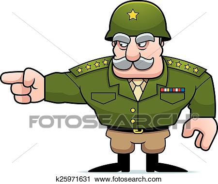 Cartoon Military General Pointing Clipart.