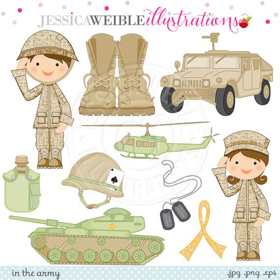 In the Army Cute Digital Clipart for Card by JWIllustrations.