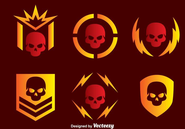 Skull Military Vector Icons.