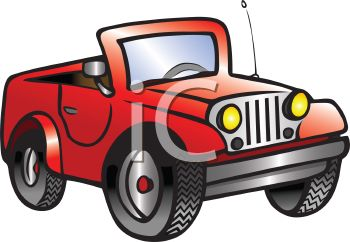 Royalty Free Clip Art Image: Cartoon of a Little Red Jeep.