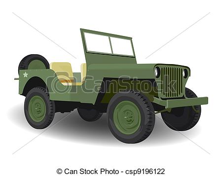 Clip Art of American Military Green Army Jeep Vehicle Illustration.