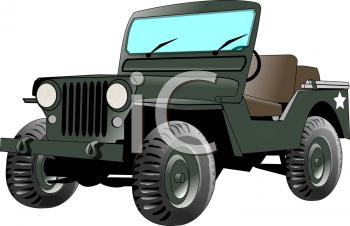 Realistic Military Jeep Clip Art.