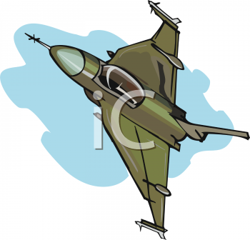 Royalty Free Clip Art Image: Realistic Fighter Plane.