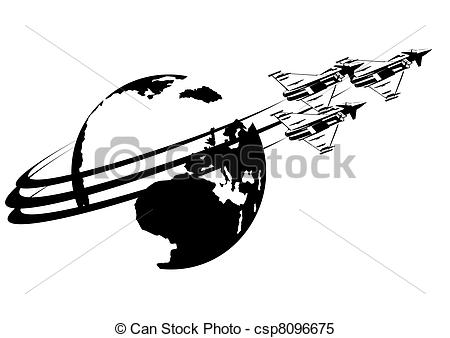 Clipart Vector of The flight of military fighter jets.