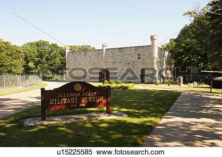 Stock Image of route 66 illinois state military museum il place.