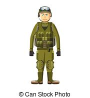 Clip Art Vector of Combat soldiers icon, cartoon style.