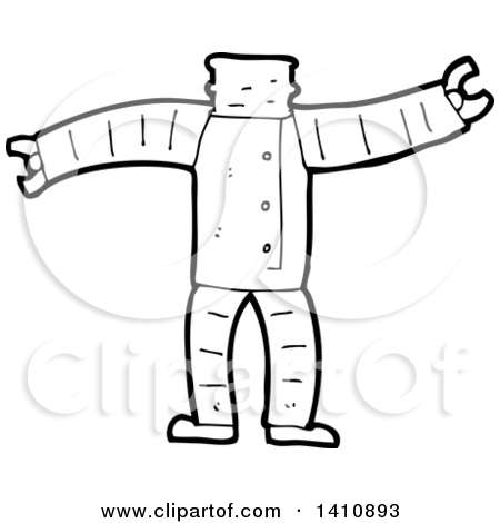 Clipart of a Cartoon Black and White Lineart Headless Robot Body.