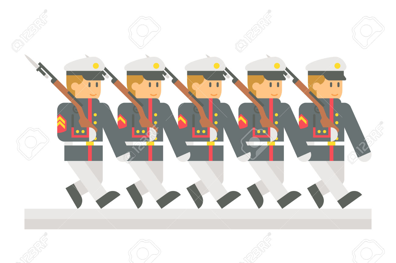 Flat Design Military Parade Illustration Royalty Free Cliparts.