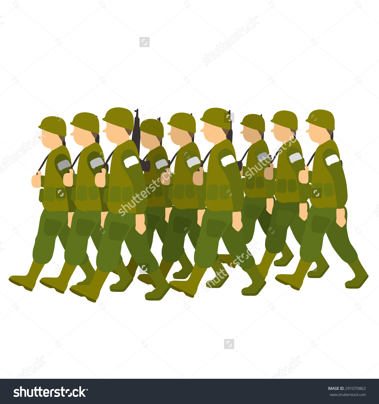Soldiers Green Uniform Marching Past Military Stock Vector.