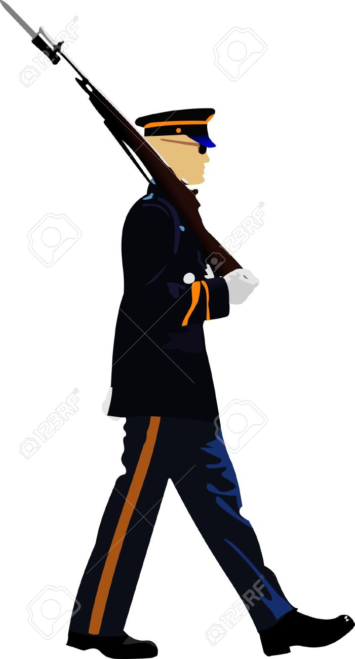 American Soldier During A Military Parade. Vector Illustration.