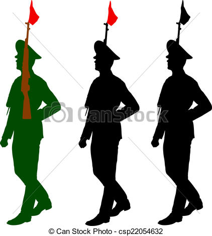 Vectors of Silhouette soldiers during a military parade. Vector.