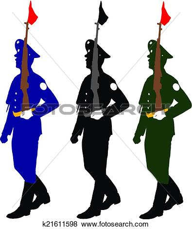 Clipart of Silhouette soldiers during a military parade. Vector.