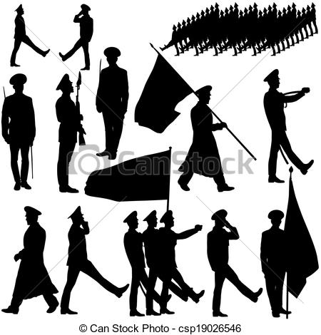 EPS Vector of Silhouette military people collection. Vector.