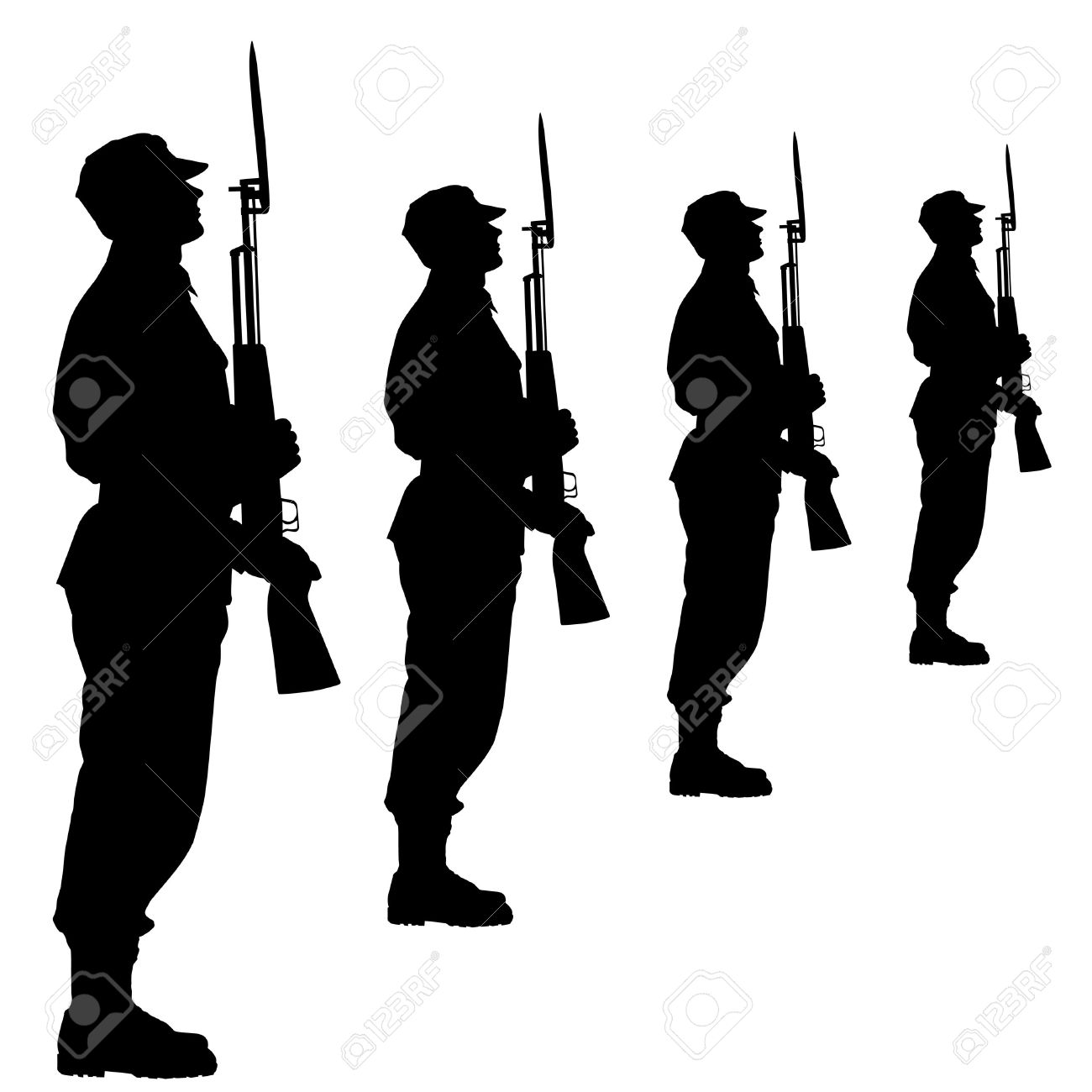 Silhouette Soldiers During A Military Parade. Illustration.