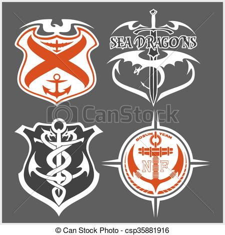 Vector Clip Art of Navy military patch set.