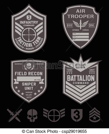 Clipart Vector of Special forces military patch set.