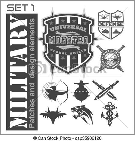 Vector Illustration of Set of military patches logos, badges and.
