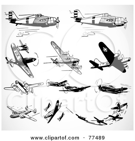 Digital Collage Of Black And White Military Aircraft Posters, Art.