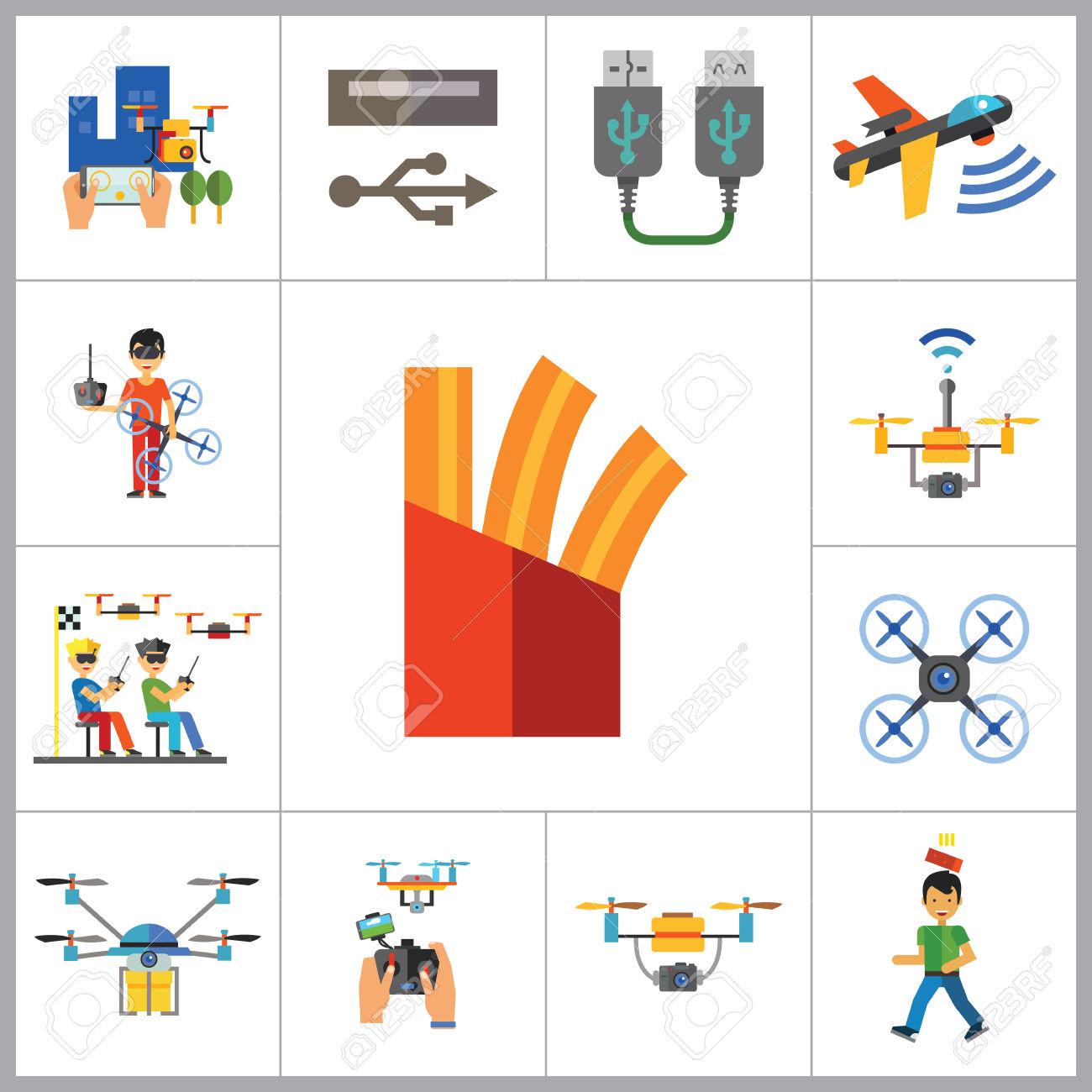 Drones Icon Set. Drone Technology Drone Surveillance Drone Racing.