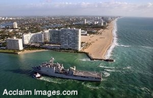 Clipart Photograph Of A Military Ship Entering Port.