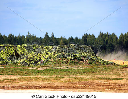 Stock Photography of Screening netting on the military range.