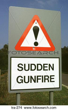 Stock Photo of Military Range Warning Sign tra.