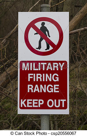 Stock Image of Sign Military Firing Range Keep Out.