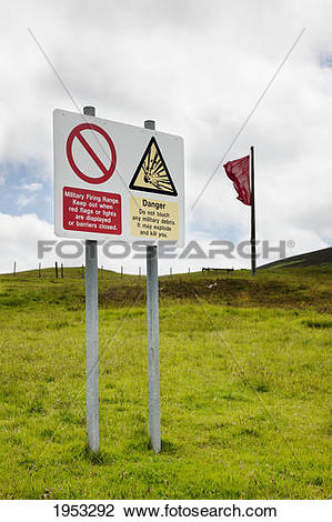Stock Photo of sign at a military firing range; cheviot hills.