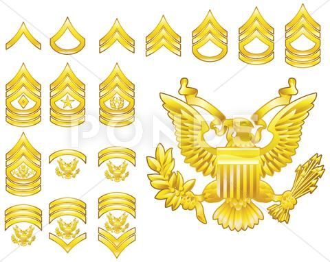 American army enlisted rank insignia icons Stock.