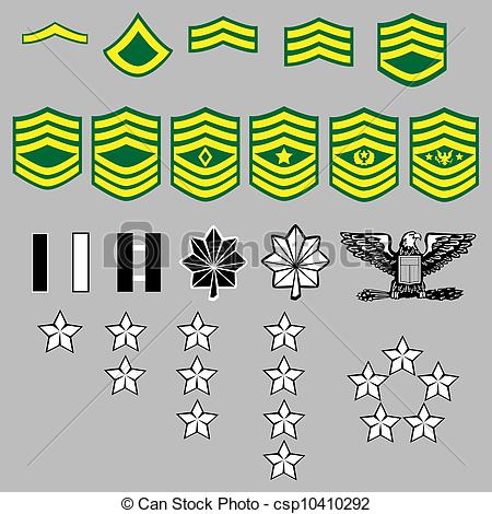 EPS Vectors of US Army rank insignia for officers and enlisted in.