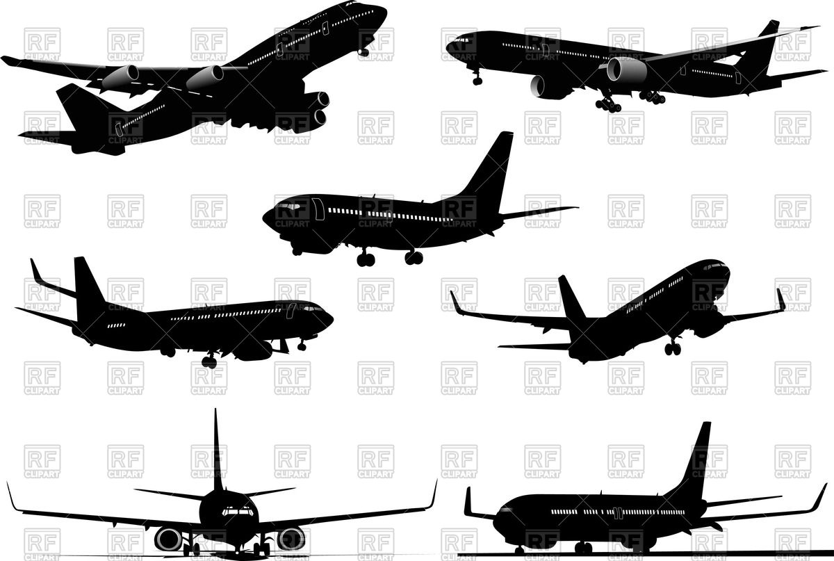 Set of silhouettes airplanes (flying and in airport) Vector Image.