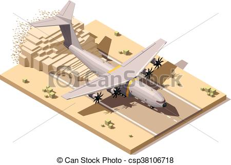 Vector Clip Art of Vector isometric low poly desert airstrip with.