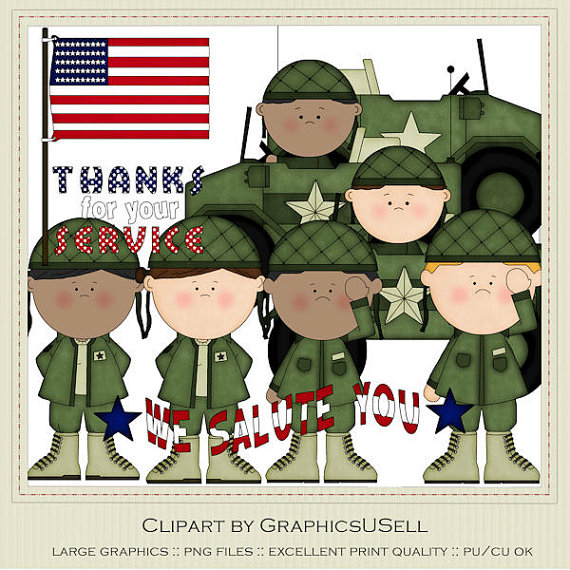 Thank You for Your Service Army Clip Art by marlodeedesigns, $1.50.