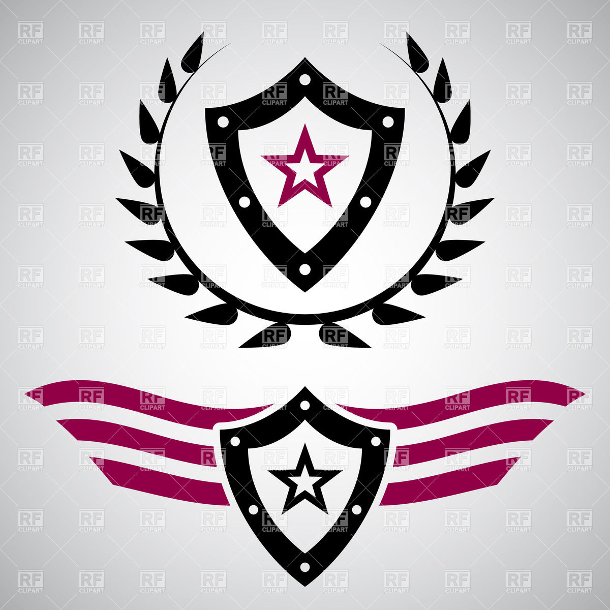 Military style emblems with shields Vector Image #28386.