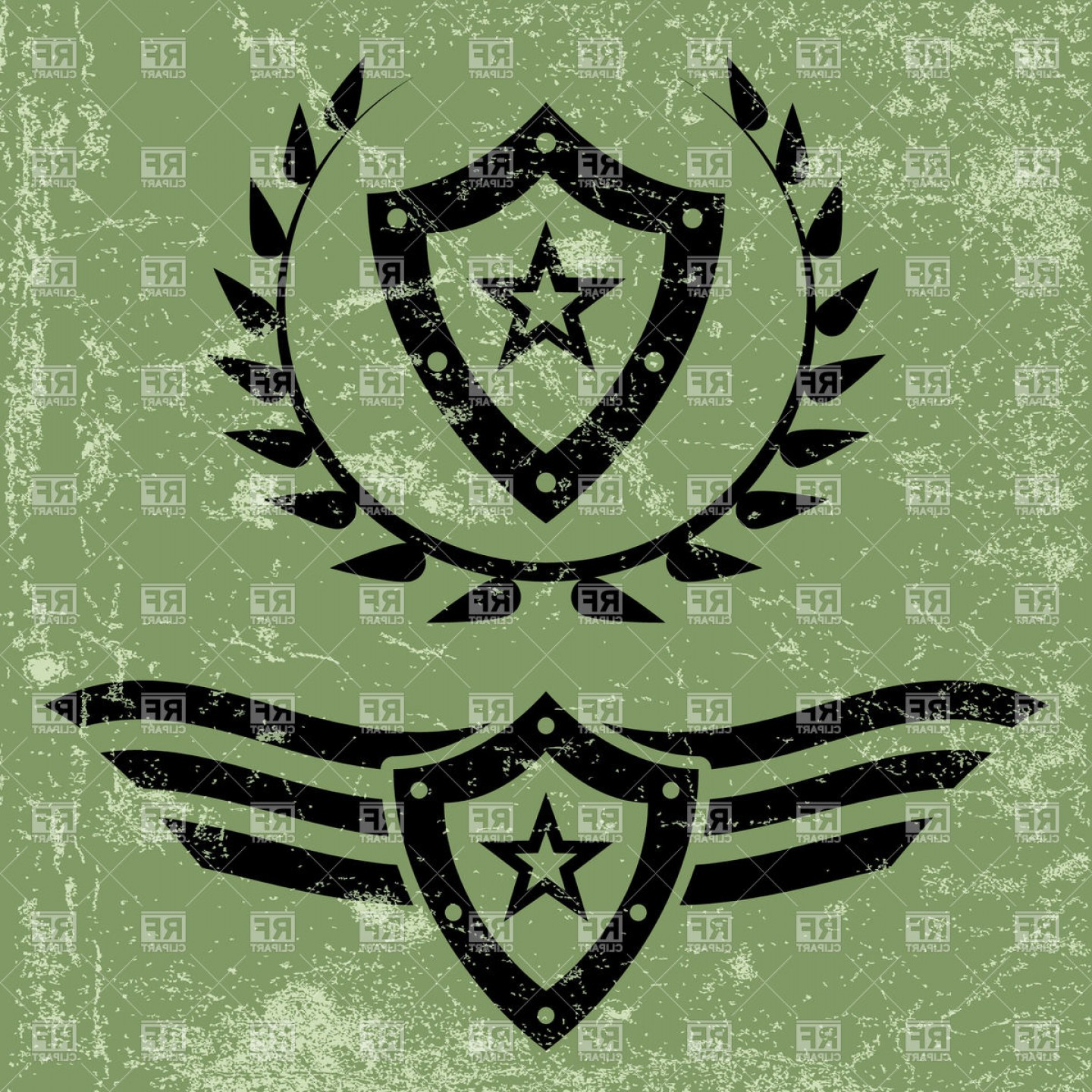 Exclusive Military Style Grunge Emblems With Shield And Stars.