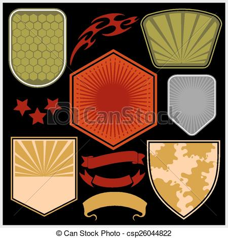 Vector Illustration of Military shields and elements.