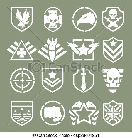 Clipart Vector of Military logos of special forces set. Army.