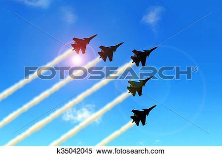Stock Illustration of Military aerobatic jets formation under blue.