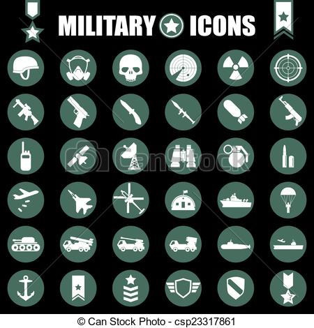 Clip Art Vector of Military icons set csp23317861.