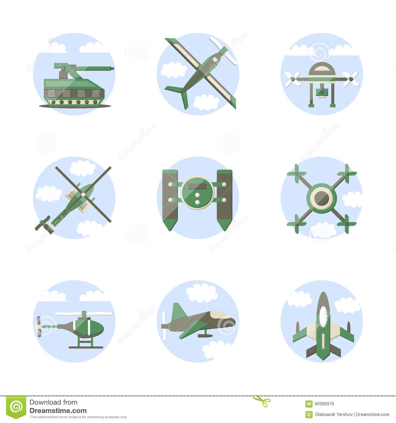 Flat Color Style Military Robots Icons Stock Illustration.