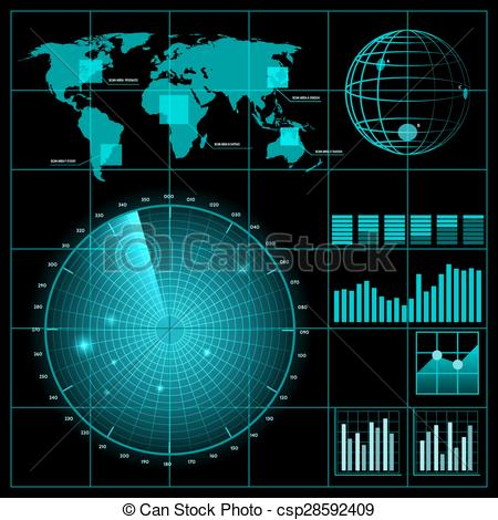 Vector Clipart of Radar screen with world map. Military technology.
