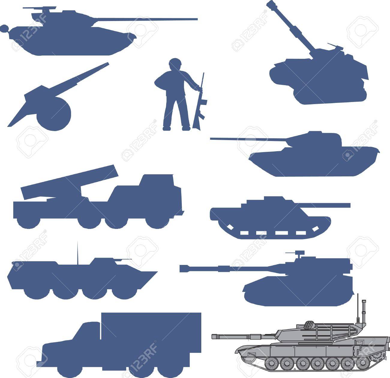 Collection Set Of Tanks Of Guns And Military Technology Royalty.