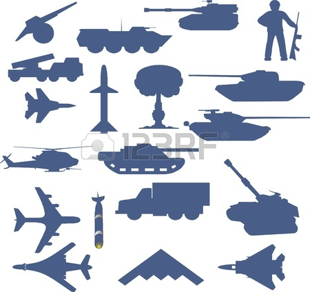 Set Of Planes Of Tanks Of Guns And Military Technology Royalty.