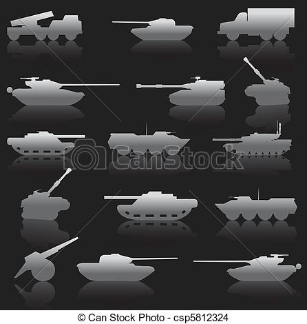 Vector Clipart of Collection set of tanks of guns and military.