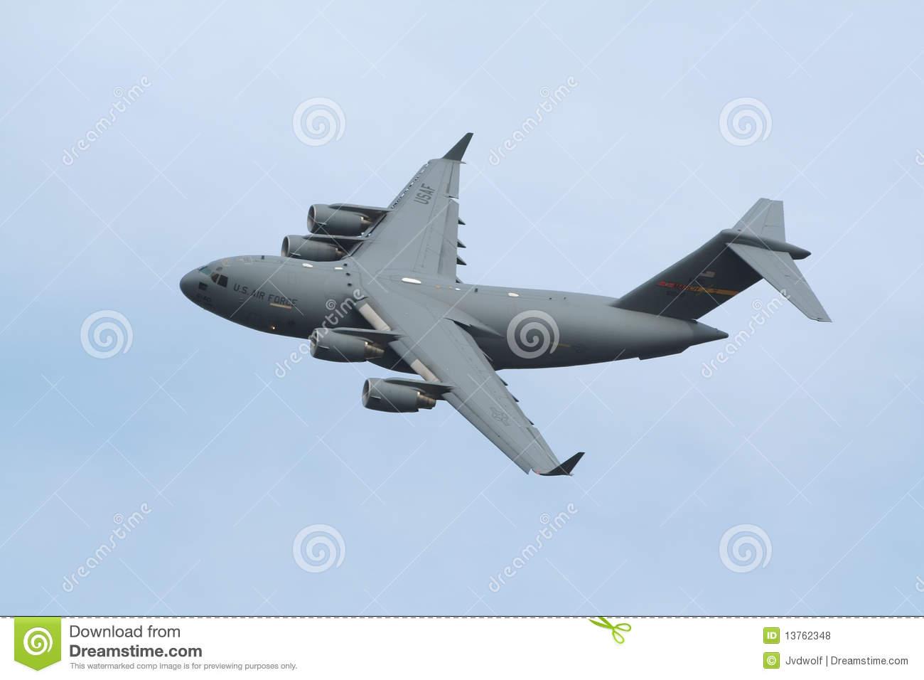 Military C17 USAF Transport Plane Editorial Stock Photo.