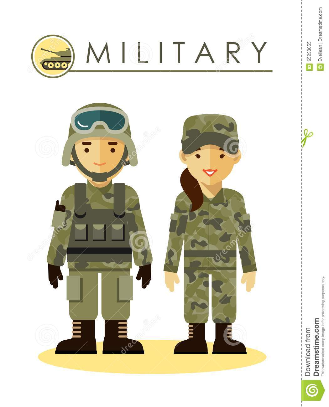 Soldier Man And Woman In Military Uniform Stock Vector.