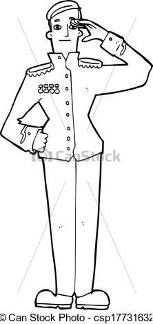 Vectors of cartoon military man in dress uniform csp17731632.