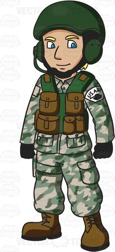 A Us Army Infantry Soldier In Uniform Cartoon Clipart.