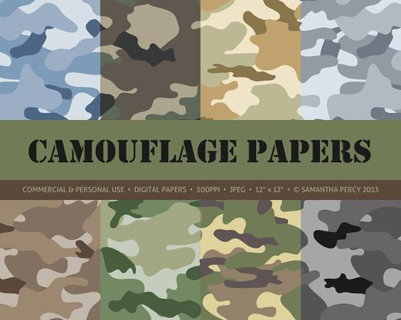 Army Military Camouflage Digital Papers Personal and Commercial.