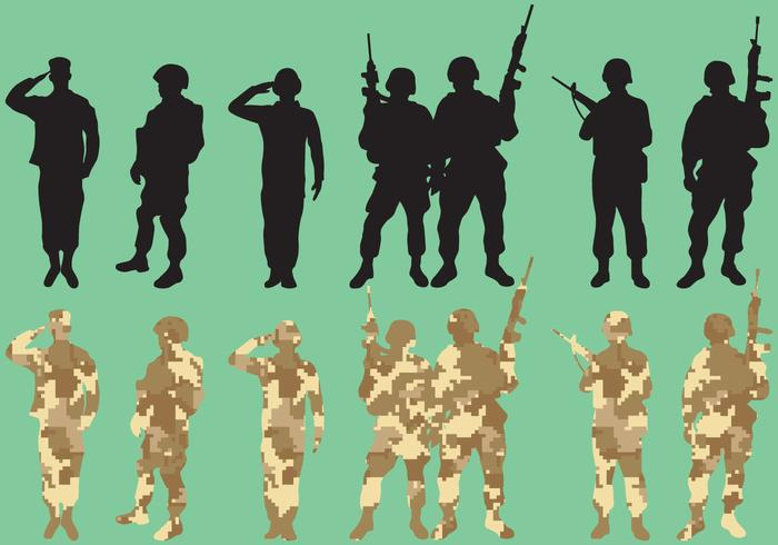 Military Squad Vector Silhouettes.